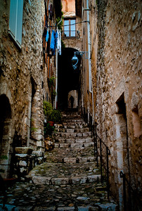 Stairway on Ruelle du Casse-cou in Saint-Paul, France, French Riviera
