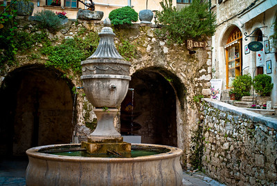 The famous fountain of Saint-Paul at the heart of the village, Saint-Paul, France, French Riviera.