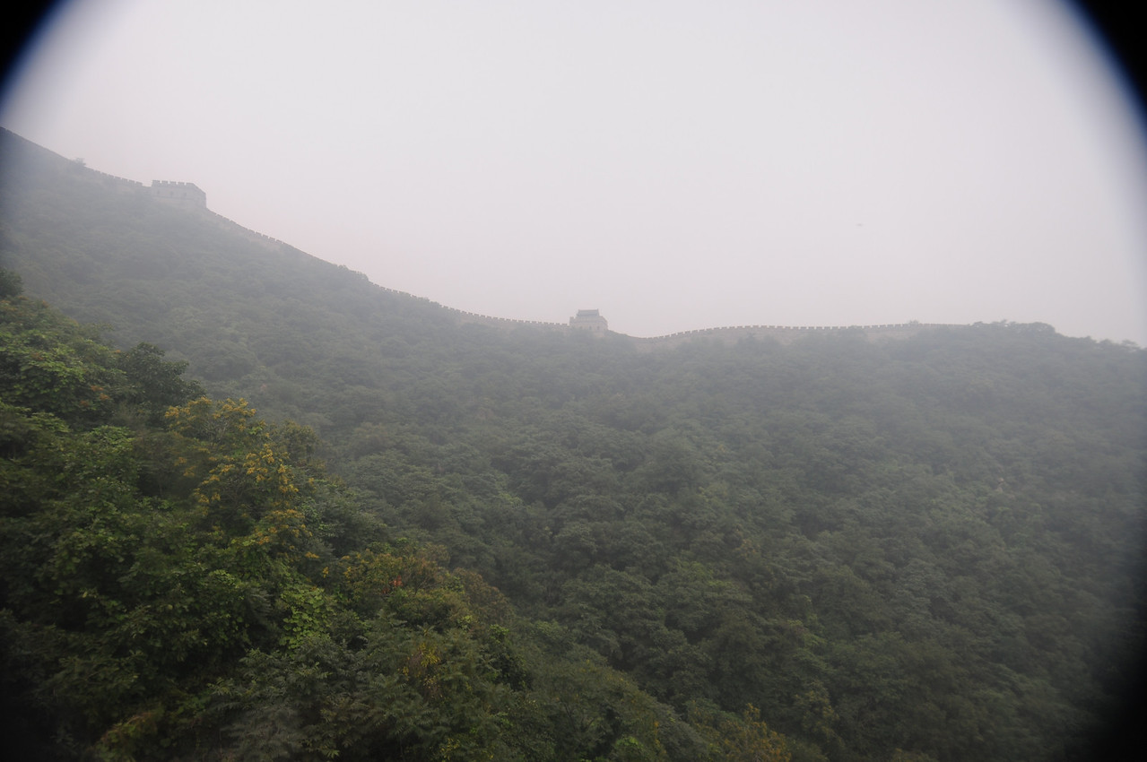 Our first peak of the Great Wall.  That isn't pollution, that is thick hot water vapor - HUMIDITY!