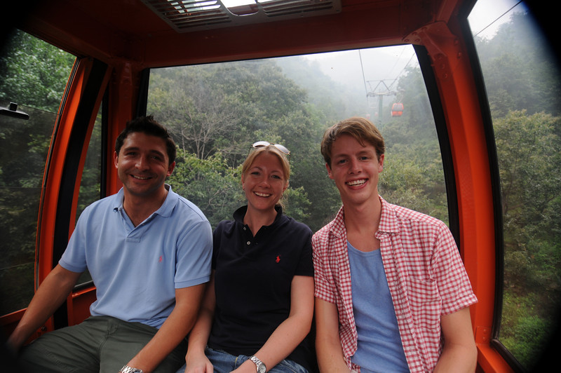 Brian, Detgen and Kyle in the cable car ride up to the Great Wall