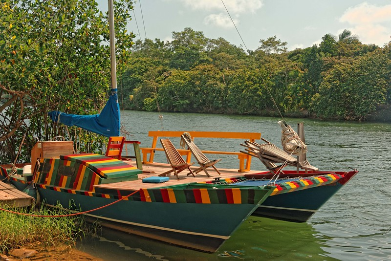 Colorful catamaran on Sittee River.