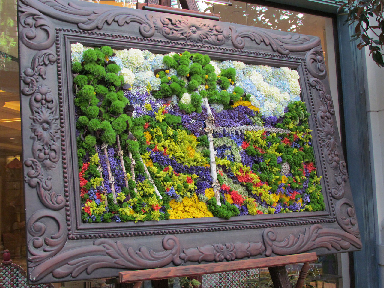 A landscape created with living plants and flowers.