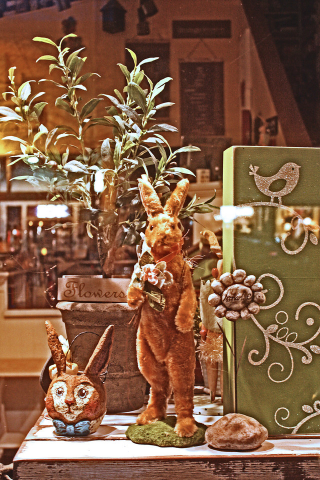 Easter bunnies in a downtown shop window