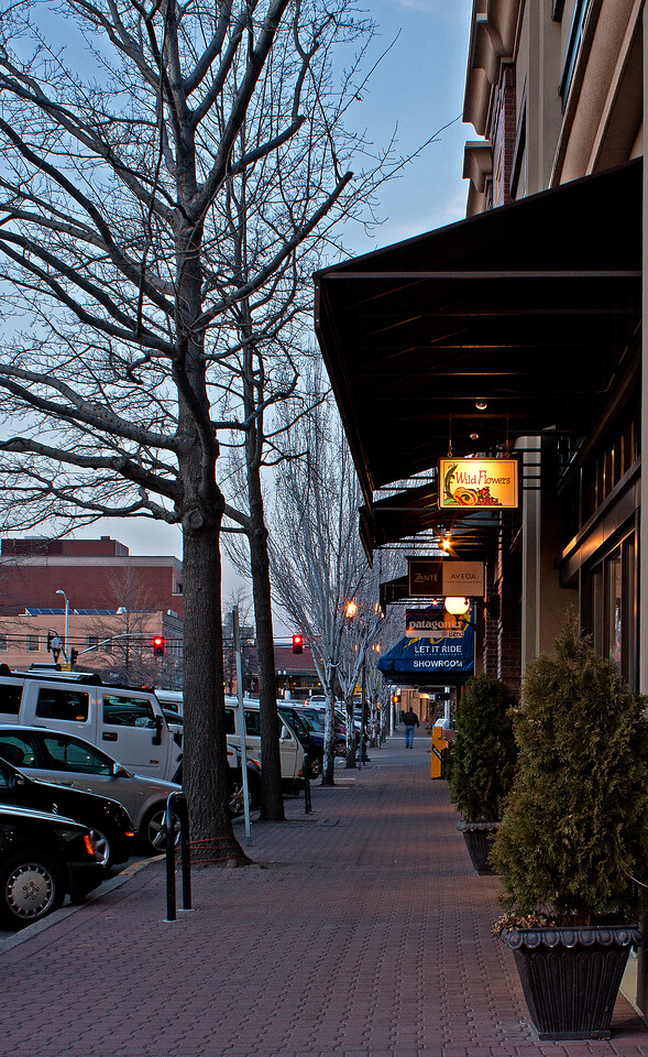 Looking north on Bond St. at twilight in downtown Bend, Oregon
