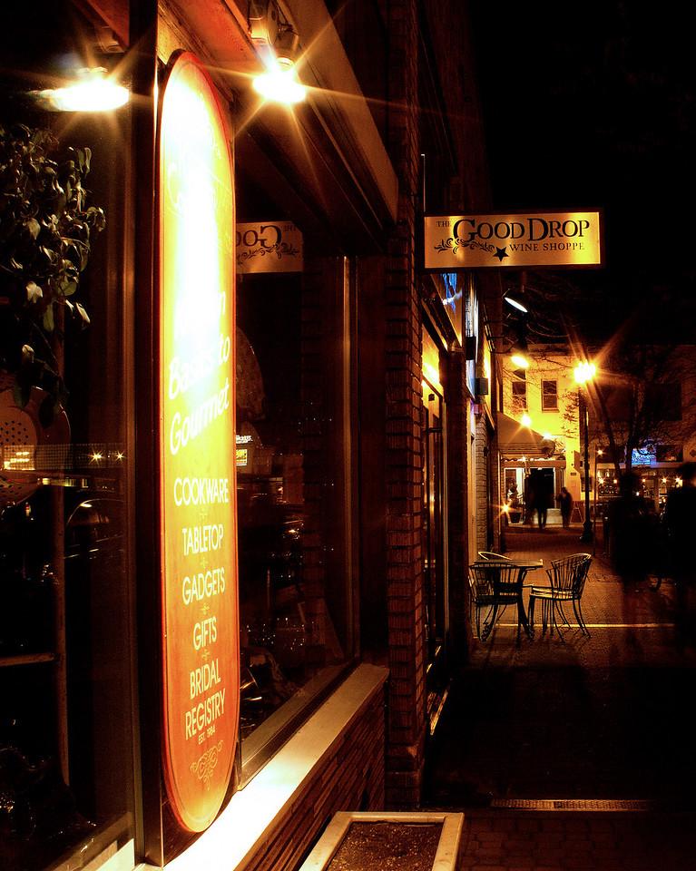 Minnesota street at night. Downtown Bend, Oregon