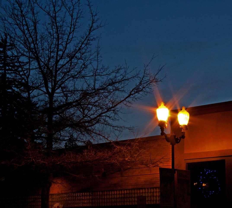 Twilight, downtown Bend, Oregon