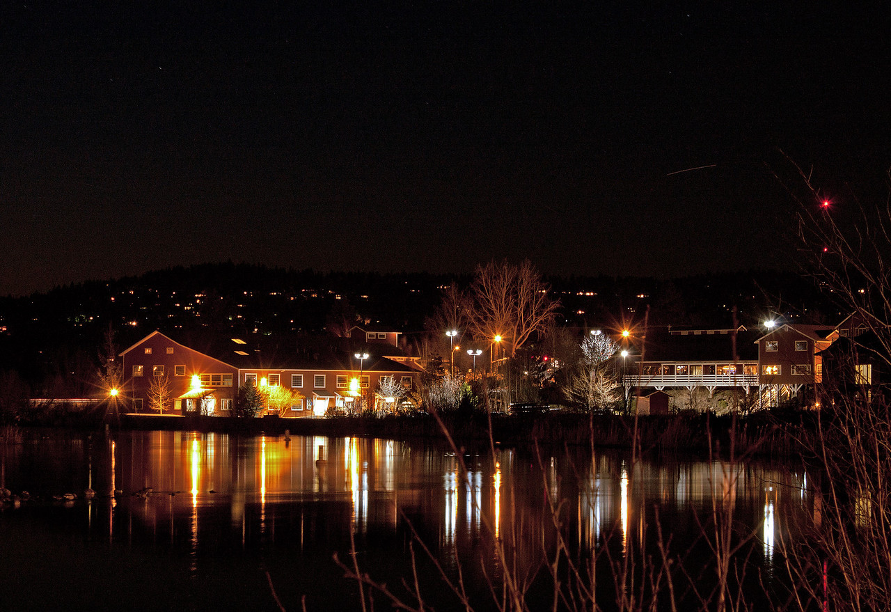 Old Mill Shopping district at night, Bend, Oregon