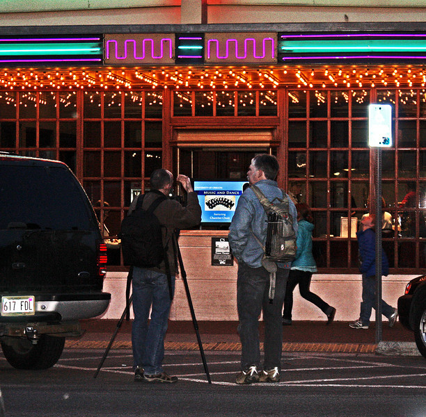Night shoot in downtown Bend, Oregon in front of the Tower Theatre