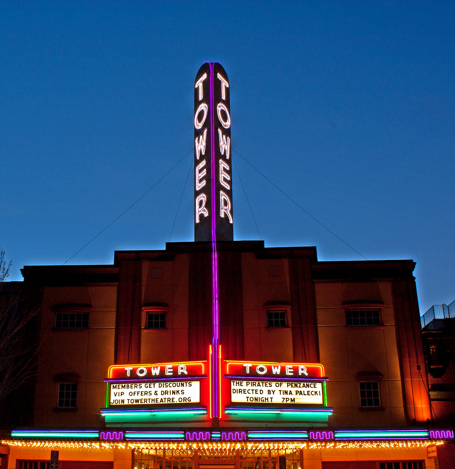The Tower Theater at twilight, downtown, Bend,Oregon