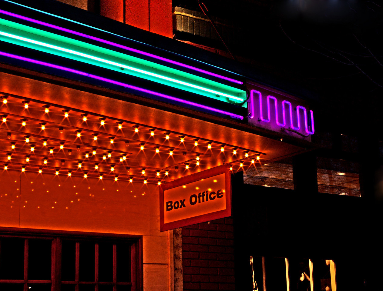 The Tower Theatre lights, downtown Bend,Oregon