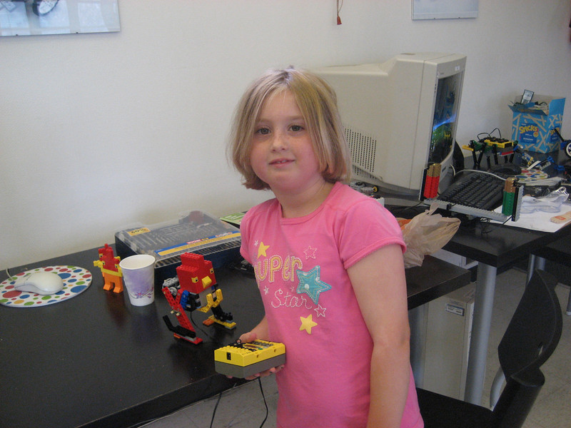 Syl at the robotics class.