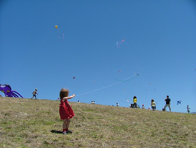 Sam flies her kite