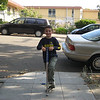 Max on a pogo stick -- he can bounce more than 100 times.
