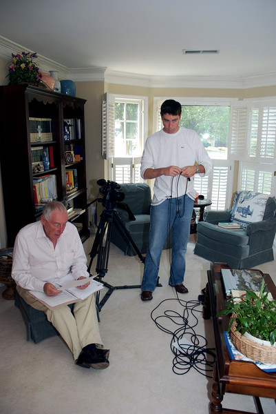 <b>Jim and John Sherwin Prepare for Interview</b> Taken in August 2007 during an interview with former World Airways and Delta Airline Captain Chuck Martin, of the Bermuda Sky Queen, and Lt. Mike Hall, USCG (Retired), former Gunnery Officer, USCGC Bibb. The interview was conducted by Jim Sherwin of Sherwin Media and filmed by John Sherwin of Videos on the Net. Also attending were Chuck's wife, Jane, herself a retired Delta Air Lines Flight Attendant, Mike's wife Eleanor, Margaret O'Shaughnessy, Director of the Foynes Flying Boat Museum and museum supporters Arlene and David Brown.  Photo:  David Brown