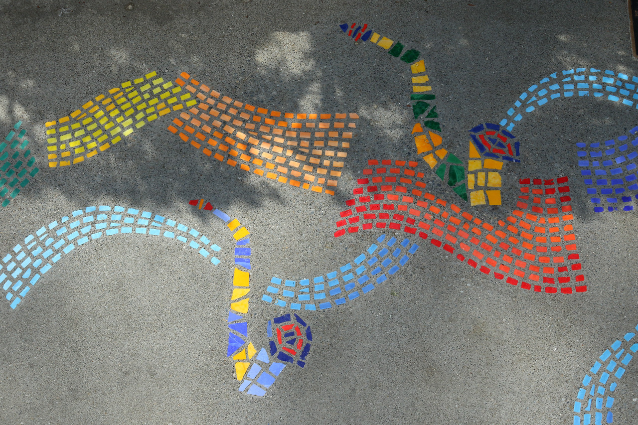 Detail of the mosaic honoring the legacy of multiphonic saxophonist Bert Wilson. Part of the City of Olympia's Music Out Loud program, which spotlights the contributions of outstanding musicians who lived and worked in Olympia. Designed by Michele Burton. Fabricated by Belarde Company, 2018.