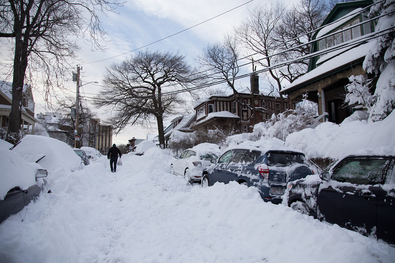 February 9, 2013 - Many neighborhood streets remained unusable on Saturday evening despite active plowing in the area. Winter storm Nemo had dropped over 20 inches of snow on the area the night before. Photo by Alexa Gonzalez Wagner.