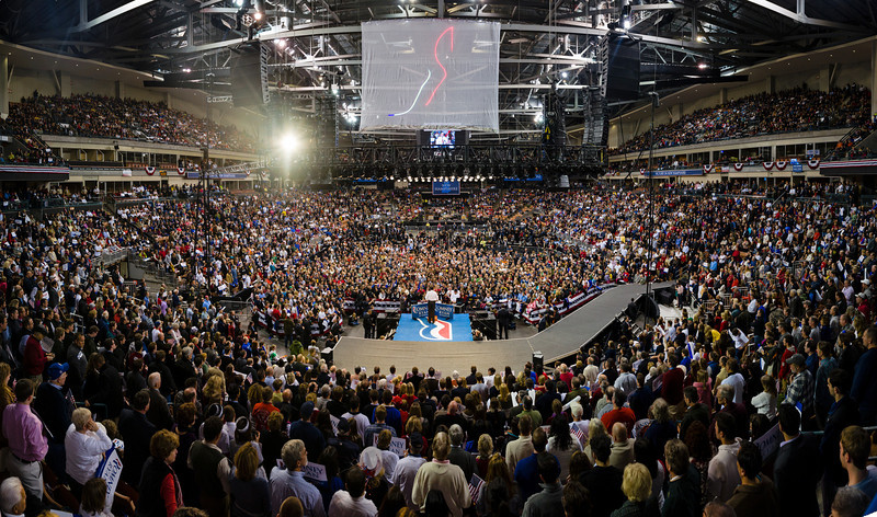 Nov. 5, 2012 - Republican candidate for President Mitt Romney addresses the packed Verizon Wireless Arena in Manchester, NH, the night before voting day during his Final Victory Party. Romney lost the election to incumbent President Barack Obama. Photo by Christopher Weigl