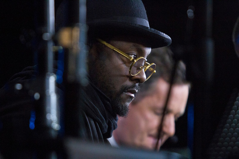 will.i.am does an interview with CNN while attending The Inaugural Ball at Washington Convention Center, Washington, D.C. during the 57th Presidential Inauguration, Monday, Jan. 23. (Photo by Micaela Bedell)