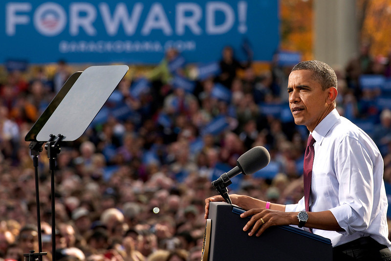 October 27, 2012 - President Barack Obama speaks at a campaign event at the Elm Street Middle School in Nashua, New Hampshire. 8,500 people were said to have attended the event. Photo by: Amanda Sabga