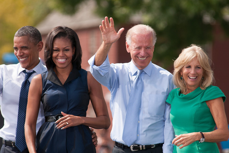 Sep. 7, 2012- President Barack Obama, First Lady Michelle Obama, Vice President Joe Biden, and Dr. Jill Biden greet the audience of 6,000 people, following the campaign speeches in Portsmouth, NH at the Strawbery Banke Museum. Photo by: Jasmin Bleu Pellegrino