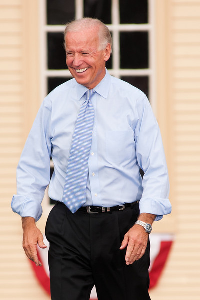 Sep. 7, 2012- Vice President Joe Biden smiles at the 6,000 supporters in attendance, as he comes on the stage in Portsmouth, NH at the Strawbery Banke Museum. Photo by: Jasmin Bleu Pellegrino