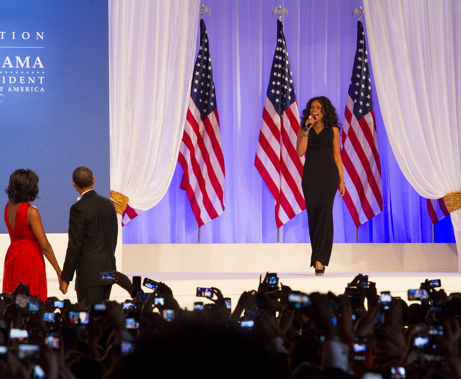 "Singer Jennifer Hudson performs her version of Al Green's ""Let's Stay Together"" for President Obama and first lady Michelle Obama for their dance at The Inaugural Ball in Washington Convention Center, Washington, D.C., during the 57th Presidential Inauguration on Monday, Jan. 23. (Photo by Micaela Bedell)"