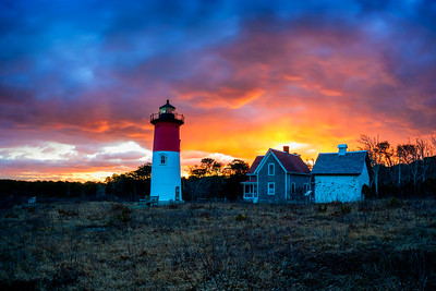 Nauset light red sky