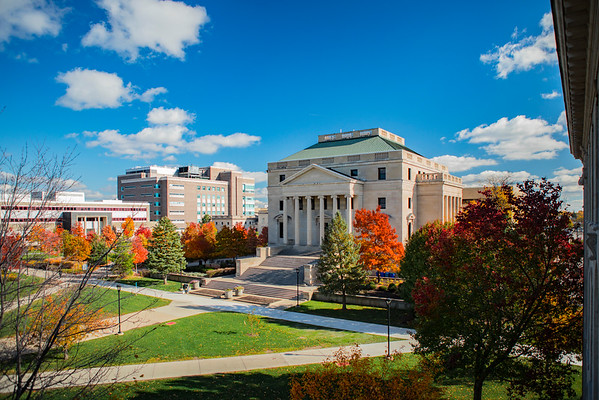 Buildings and students on UB South Campus in the fall<br /> <br /> Photographer: Douglas Levere