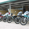 Some of the riff raff, Ramons greenie with Darmy light and dash, Dalby Pates 74 with alloy tank, my 73 , an a leccy start GT.