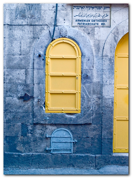 Bright yellow doors and Windows in the Armenian quarter at the old city of Jerusalem.
