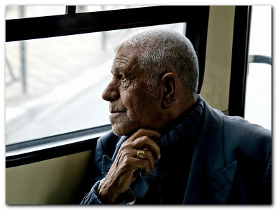 In his own World:  a man gazing out from a number 6 Bus Window, Jerusalem.