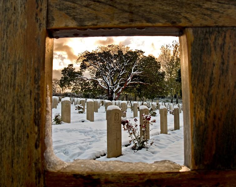 Red Sunrise:<br /> <br /> the Commonwealth War Cemetery at Mount Scopus, Jerusalem.<br /> December 2006.