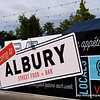 Albury street food and bar sign in Albury, NSW in December 2017