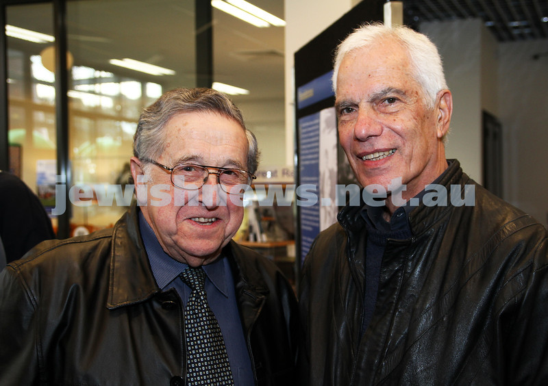 3-6-12. Bialik College 70th. Past principals, xxxx Goldber (left), Yeheizkel Meiri. Photo: Peter Haskin