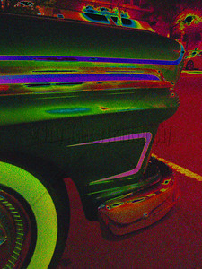 Old Car at night - Altered Image