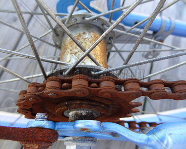 Blue Bike. Rusted Chain