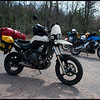 """Dave's Versys, """"Rat Bike"""" with Wolfman panniers and my Versys in medium dirt trim. We where stopped because we where lost."""