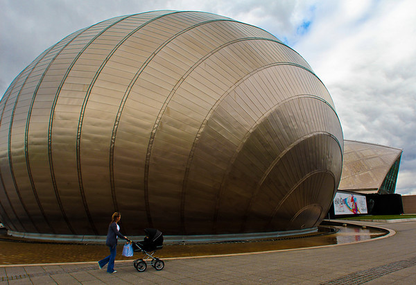 The bulbous theater that is part of the Glasgow Science Centre in Glasgow, Scotland.