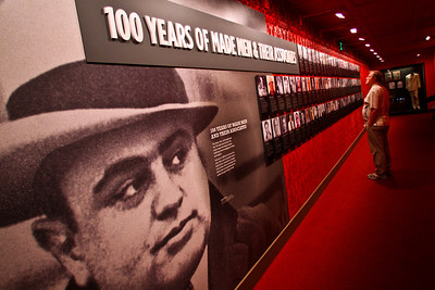A photo of Al Capone keeps on an eye on a visitor to the National Museum of Organized Crime and Law Enforcement, also known as the Mob Museum, in Las Vegas.