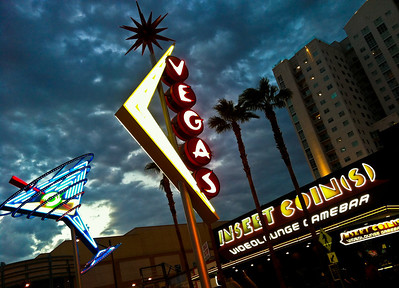 The skyline of the increasingly hip Fremont East neighborhood in Las Vegas, home to some of the city's iconic neon.