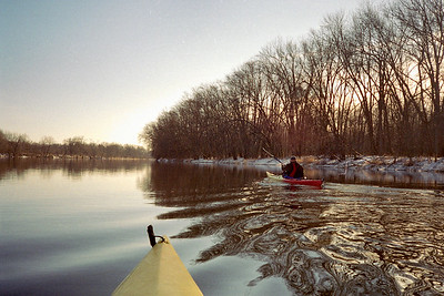 January 31, 2004. Aaron paddling Perception Shadow on Grand River, near Knapp St. Shadow purchased at B&P's.