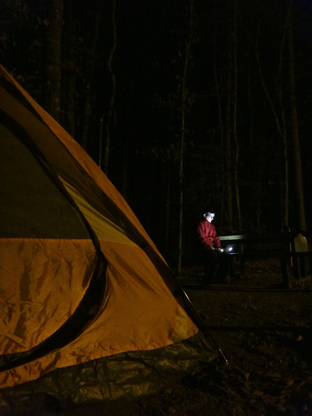 Fixing a geek problem at a campsite at Crater of Diamonds State Park in Murfreesboro, Arkansas.