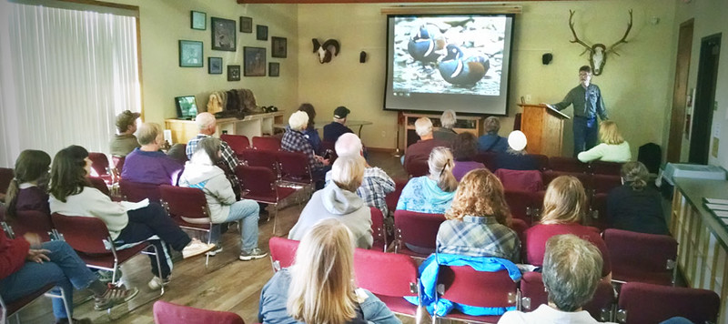 John giving a public program on harlequin duck biology and conservation.