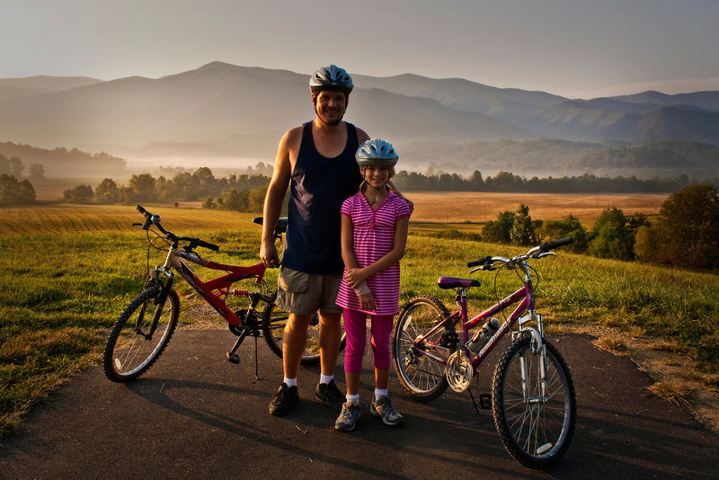 Biking Cades Cove, GSMNP with my daughter Megan.