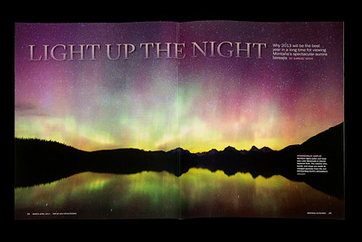Northern lights two-page spread in Montana Outdoors