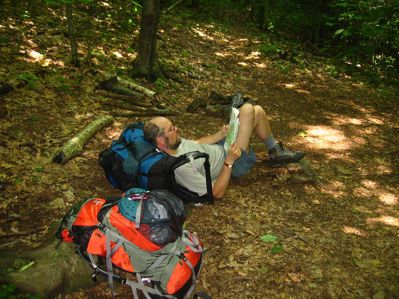 My wife and I love nature and enjoy backpacking whenever my time permits. Here is a picture of me on the Appalacian Trail in the Western part of Virginia. My wife is the photographer in this one.