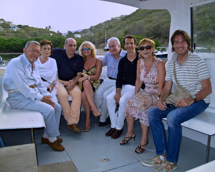 From left to right, Carlo, Tina, Paolo, Cristina, Mario, Francesco, Maria Paola, and Carlo. We are on the boat, on our way to celebrate Mario's Birthday at Biras Creek.