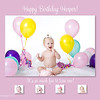 """harper""<br /> <br /> This 5x7 card can be used as a birthday invite or a thank you card and comes with white envelopes. All text can be customized. Two rounds of card reviews/editing prior to printing are included in the price; additional reviews/edits are $15 each. Minimum order of 25 cards; cards can be ordered in any increment after the 25 unit minimum is met.<br /> <br /> This card is offered in two formats:<br /> - single sided (printed on lustre photo paper): $1.25 each<br /> - double sided (printed on linen card paper): $1.75 each (the double-sided cards have a color coordinated backing where an additional picture can be placed, additional text can be added, space for handwritten notes can be provided, etc.).<br /> <br /> Samples of both formats are available for viewing at the studio."