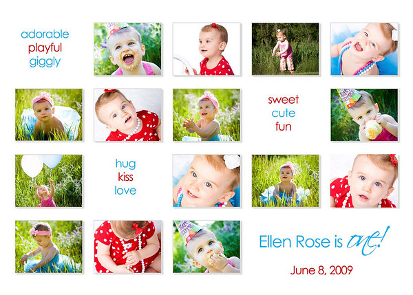 """""""fifteen smiles""""<br /> <br /> This 5x7 card can be used as a birthday invite or a thank you card and comes with white envelopes. All text can be customized. Two rounds of card reviews/editing prior to printing are included in the price; additional reviews/edits are $15 each. Minimum order of 25 cards; cards can be ordered in any increment after the 25 unit minimum is met.<br /> <br /> This card is offered in two formats:<br /> - single sided (printed on lustre photo paper): $1.25 each<br /> - double sided (printed on linen card paper): $1.75 each (the double-sided cards have a color coordinated backing where an additional picture can be placed, additional text can be added, space for handwritten notes can be provided, etc.).<br /> <br /> Samples of both formats are available for viewing at the studio."""