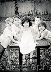 All the Kids on Table bw-
